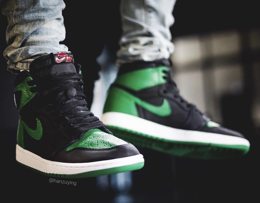 Air Jordan 1 Retro High OG Pine Green On Feet 555088-030 Release