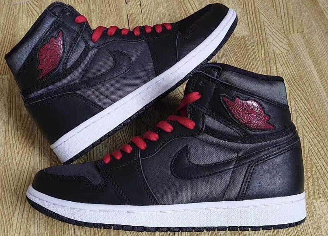 Air Jordan 1 Black Satin On Feet 555088-060 Release Date