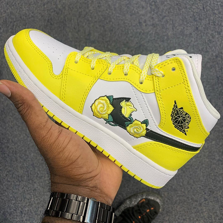 Air Jordan 1 Mid Yellow Floral