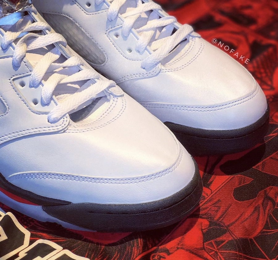 Air Jordan 5 Fire Red Silver Tongue Images Surface