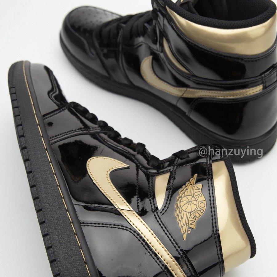 Air-Jordan-1-Black-Metallic-Gold-Patent-Leather-555088-032-Release-Date-6