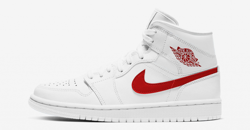 Air Jordan 1 Mid WMNS White/University Red