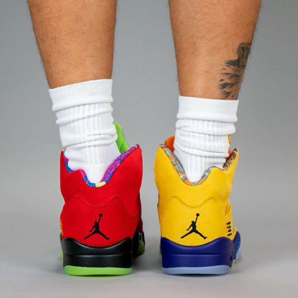 On-foot look at the Air Jordan 5 What The-5