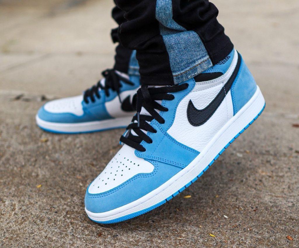 Air-Jordan-1-High-OG-University-Blue-555088-134-Release-Date-On-Feet